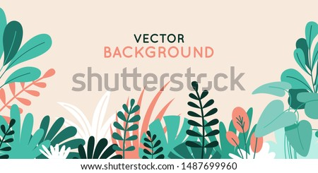 Vector illustration in simple flat style with copy space for text - background with plants and leaves - backdrop for greeting cards, posters, banners and placards Royalty-Free Stock Photo #1487699960
