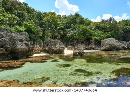 Philippines, Siargao Island, 22.July.2019.: Tourists visit magpupungko natural rock pools in Siargao, Philippines. #1487740664