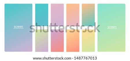 Vibrant and soft pastel gradient smooth color background set for devices, pc and modern smartphone screen soft pastel color backgrounds vector ux and ui design illustration. #1487767013