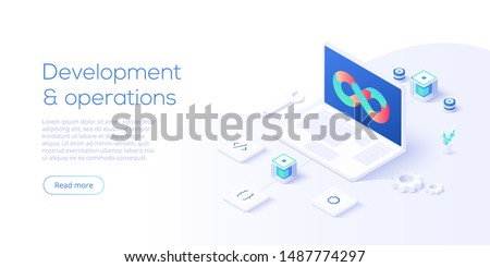 Web development concept in flat design. Developing of internet app or online website service. Creative vector illustration. Landing page layout or banner template.