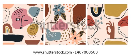 Hand drawn various shapes and doodle objects. Set of three abstract contemporary modern trendy vector seamless patterns. Perfect for textile prints. Every pattern is isolated #1487808503
