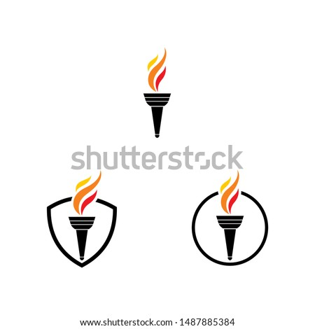 torch fire logo icon vector