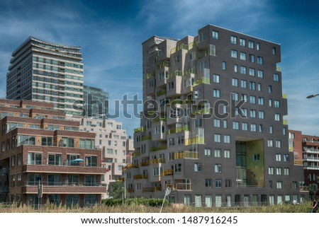 Amsterdam, De Boelelaan, The Netherlands, 08/23/2019, Modern apartments at the zuidas in Amsterdam, luxury apartments, living, houses #1487916245
