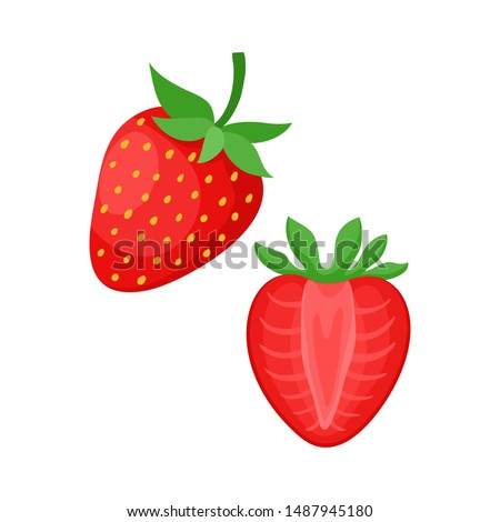 Cartoon bright natural strawberrys isolated on white. Vector illustration of fresh farm organic berry used for magazine, book, poster, menu cover, web pages. #1487945180