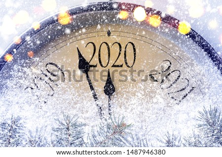 Countdown to midnight. Retro style clock counting last moments before Christmass or New Year 2020. #1487946380