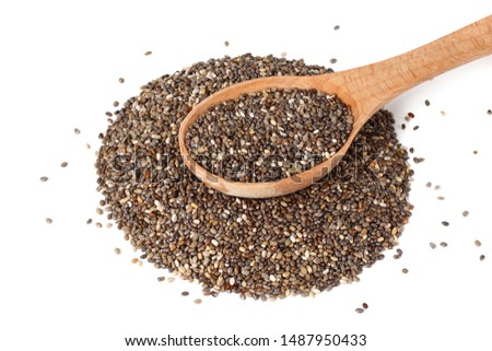 Chia seeds in wooden spoon isolated on white background. #1487950433