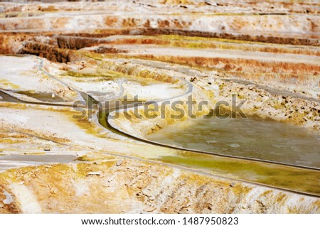 The limestone hill created by Egerszalók, a thermal spring, and a river known as the Sódomb over the years. The mineral water rich in 65-68 C minerals continuously forms white formations. #1487950823