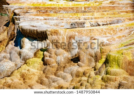 The limestone hill created by Egerszalók, a thermal spring, and a river known as the Sódomb over the years. The mineral water rich in 65-68 C minerals continuously forms white formations. #1487950844