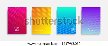 Minimal covers design. Halftone dots colorful design. Future geometric patterns. Eps10 vector. Royalty-Free Stock Photo #1487958092