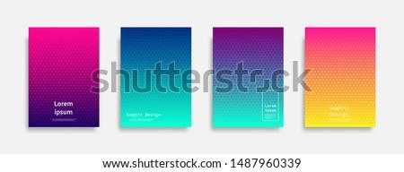 Minimal covers design. Halftone dots colorful design. Future geometric patterns. Eps10 vector. #1487960339