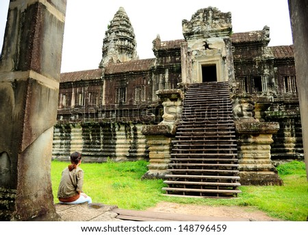 Lonely Girl in Angkor Wat Temple, Cambodia  #148796459
