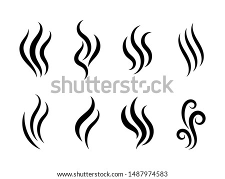 Aromas vaporize icons. Smells vector line icon set, hot aroma, stink or cooking steam symbols, smelling or vapor, smoking or odors signs Royalty-Free Stock Photo #1487974583