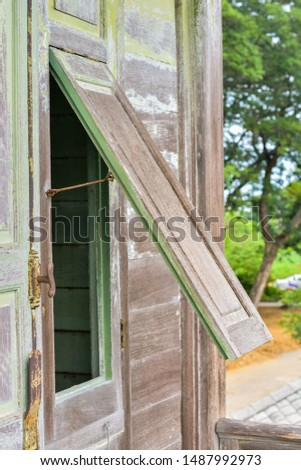 Wooden Window of old thai wooden house. #1487992973