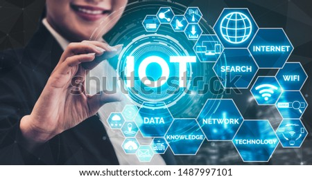 Internet of Things and Communication Technology Concept - Modern graphic interface showing smart information and digital lifestyle in application software for home and business use. #1487997101