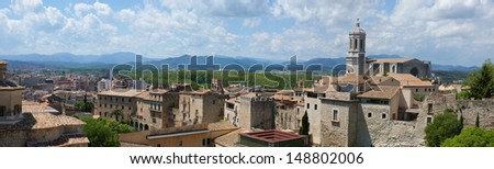 The panorama of Girona with Saint Mary's Cathedral and old houses made from the fortress wall  where everyone can walk and enjoy the view, Spain. #148802006