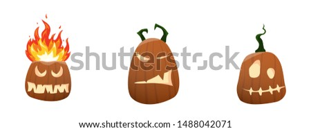 Funny pumpkins set. One of the Halloween symbols. Vector Illustration. #1488042071
