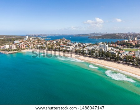 Panoramic high angle drone view of Manly Beach and the Sydney Harbour area. Manly is a popular suburb of Sydney, New South Wales, Australia. Famous tourist destination, easy to reach by ferry from CBD #1488047147