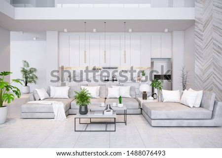Modren living room and kitchen room  interior ,luxury home,villa ,3d render #1488076493