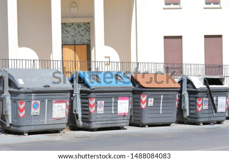 ROME ITALY - JUNE 16, 2019: Rubbish bin for collection in downtown Rome Italy #1488084083