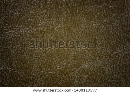 Dark bronze blue leather texture background, closeup. Brown cracked backdrop from wrinkle skin, structure of olive textile with vignette. #1488119597