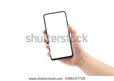 A man's hand holding a black smartphone isolated on white #1488147728