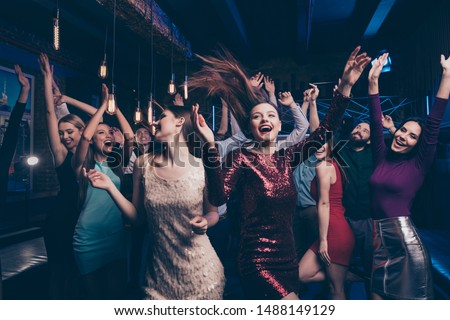 Nice gorgeous lovely chic attractive glamorous cheerful glad positive stylish girls and guys buddy fellow having fun weekend solemn celebratory festive feast in fashionable luxury place nightclub #1488149129