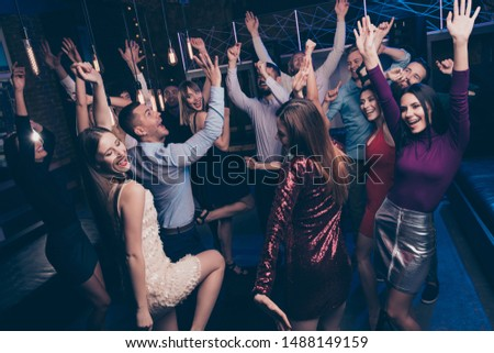 Nice-looking attractive glamorous lovely cheerful glad positive stylish chic graceful ladies and gentlemen having fun tradition dj set edm in fashionable luxury place nightclub indoors #1488149159
