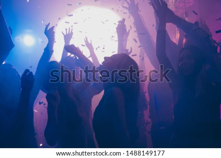 Company of nice attractive cheerful cheery positive carefree careless guys ladies having fun time hanging out best summer student life in new cool modern place indoors #1488149177