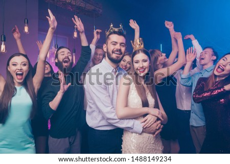 Portrait of crazy candid people mates shout raise hands wear stylish trendy formalwear dress suit  disco discotheque #1488149234