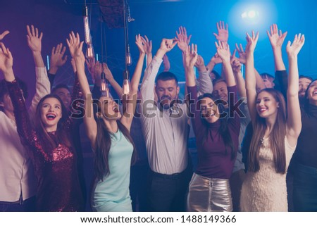 Portrait of content charming attractive lady youth guy raise hands arms scream shout hear favorite song chill singer indoors discotheque formal wear formalwear indoors trendy stylish #1488149366