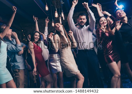 Party hard stay all nigh concept. Buddies dancing having fun active dynamic discotheque raise hands feel content dress shirt trousers suit formal wear indoors #1488149432
