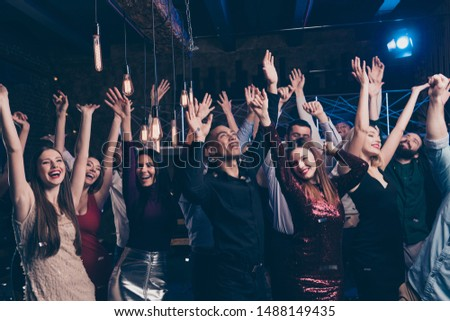 Portrait of excited good-looking magnificent fellows people millennial raise hands scream laughter rejoice content indoors disco suit dress formalwear formal wear #1488149435