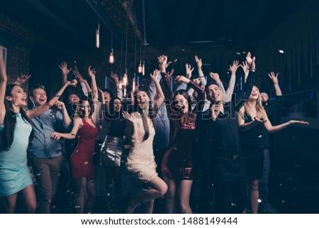 Portrait of cute millennial buddies fellows raise hands scream shout beautiful feel rejoice content arms formalwear formal wear dress suit charming indoors #1488149444