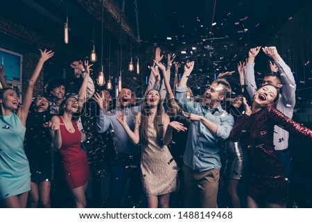 Nice-looking attractive glamorous elegant stylish cheerful positive girls and guys having fun bachelor graduate dream amusement event in fashionable luxury place nightclub indoors #1488149468