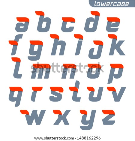 Lowercase alphabet logo with fast speed red flag line. Font style, vector design template elements for your application or corporate identity. #1488162296