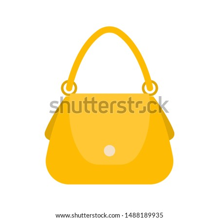 Elegance female bag colorful raster illustration yellow handbag round handle on two clips white button for pocket woman item vogue vanity case