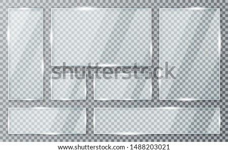 Glass plates set on transparent background. Acrylic and glass texture with glares and light. Realistic transparent glass window in rectangle frame. Vector #1488203021