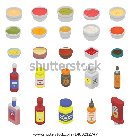 Condiment icons set. Isometric set of condiment vector icons for web design isolated on white background Royalty-Free Stock Photo #1488212747