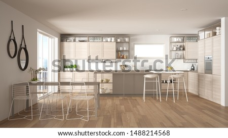 Penthouse minimalist kitchen interior design, lounge with sofa and carpet, dining table, island with stools, parquet. Modern contemporary white and beige architecture concept idea, 3d illustration #1488214568