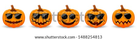 Set of Pumpkins in black sunglasses on white background. The main symbol of the holiday Happy Halloween. Hipster orange pumpkins with smile for the holiday Halloween. Vector illustration #1488254813