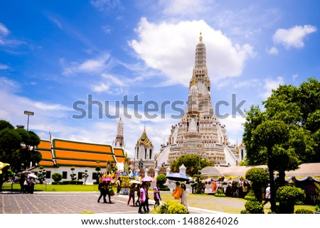 Bangkok,Thailand - July,17,2019 :Pagoda at Wat Arun temple, One of the famous temple in Thailand , This temple has many foreign visitors visiting each day, Bangkok , Thailand. #1488264026