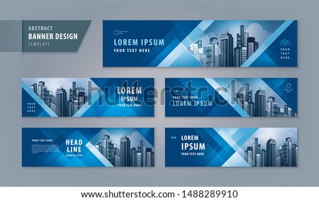 Abstract banner design web template Set, Horizontal header web banner. Modern Geometric Blue Triangle cover header background for website design, Social Media Cover ads banner, flyer, invitation card Royalty-Free Stock Photo #1488289910