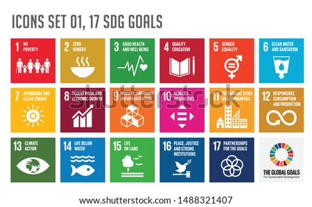 icon set of The Global Goals. Corporate social responsibility. Sustainable Development Goals - the United Nations. SDG. Colorful icons. #1488321407