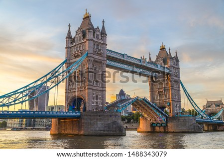 Tower Bridge in London at sunset. This is one of the oldest bridges and landmarks and a popular tourist attraction. #1488343079