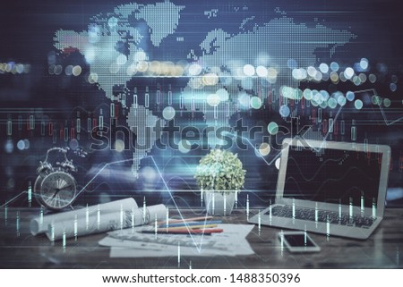Multi exposure of forex graph and work space with computer. Concept of international online trading. #1488350396