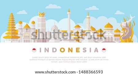 Indonesia Landmarks Flat Vector Illustration Royalty-Free Stock Photo #1488366593