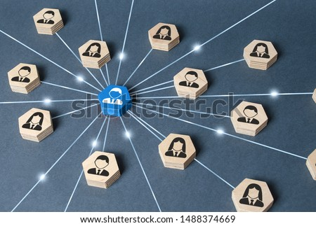 The leader is connected with employees by a wide network of lines. At the center of a complex large system. Communication social. Cooperation, collaboration. Project leadership personnel management #1488374669