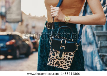 Close up of trendy woman`s autumn outfit: golden wrist watch, faux leather leopard printed box bag. Copy, empty space for text #1488411866