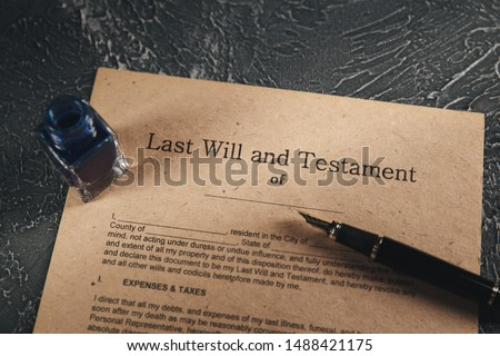 Old notary document on the desk isolated. #1488421175