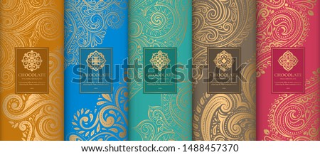 Luxury packaging design of chocolate bars. Vintage vector ornament template. Elegant, classic elements. Great for food, drink and other package types. Can be used for background and wallpaper. #1488457370